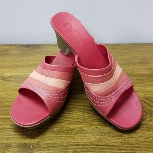 Shoes - PINK WEDGE MULES SIZE 11